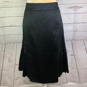 9df43f749a TSE Black Satin Pleated A-Line Silk Cotton Skirt